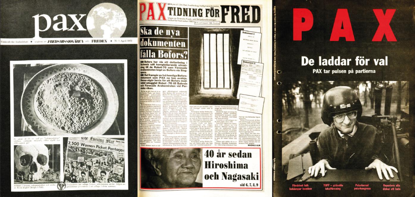 Omslagsbild 1972 Första nummret av PAX Omslagsbild 1985 Avslöjandet om Boforsaffären Omslagsbild 1991 Carl Bildt poserar i ett militärfordon