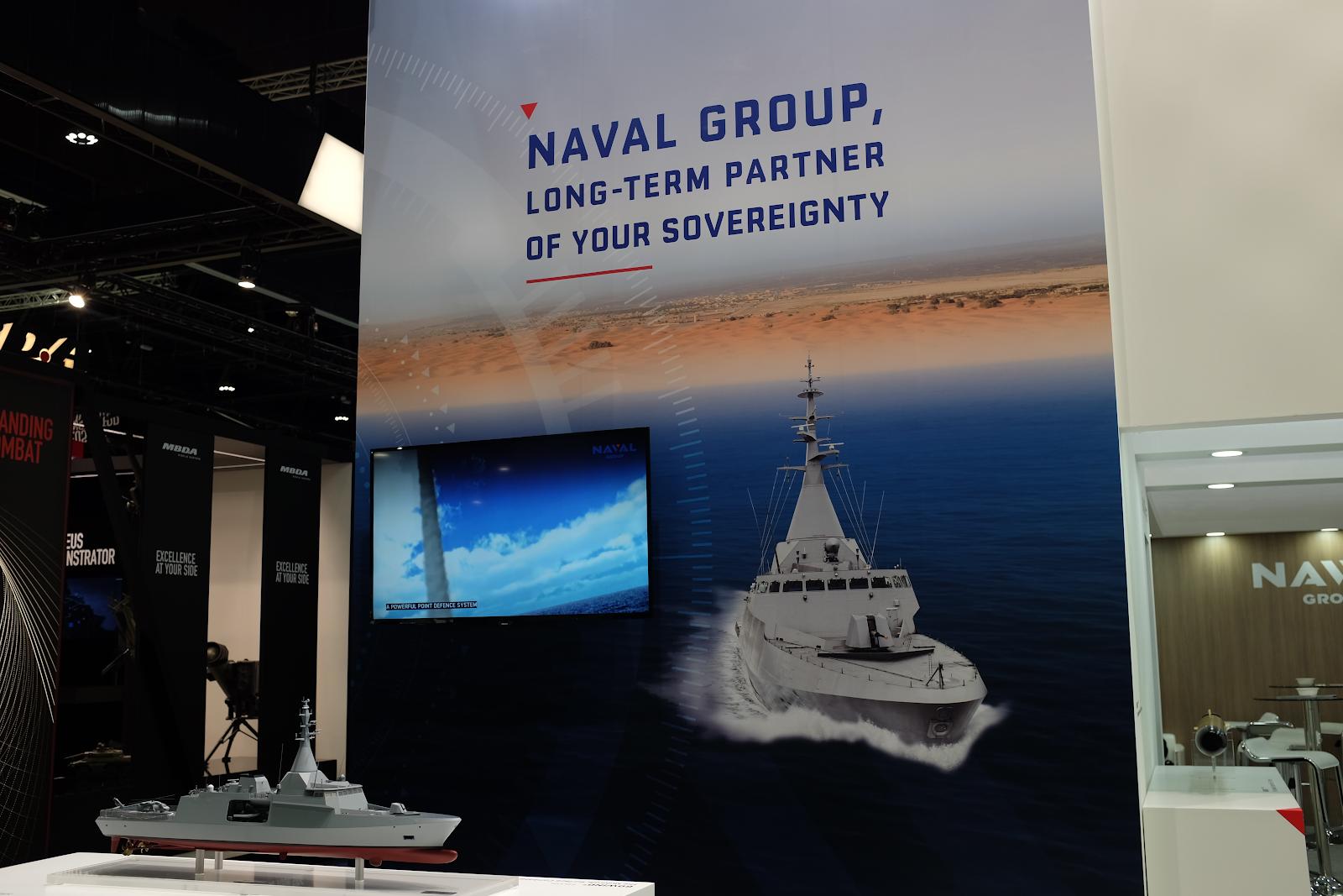 Naval Groups monter på vapenmässan IDEX i Abu Dhabi, Förenade arabemiraten, februari 2019. Foto: Linda Åkerström/Svenska Freds.